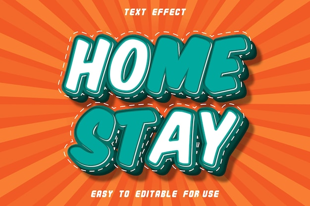 Home stay effet de texte modifiable emboss comic style