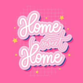 Home sweet home inscription de lettrage à la main pour imprimer, t-shirt et autres.