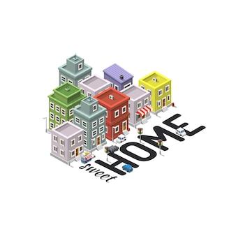 Home sweet house, signe isométrique. illustration vectorielle