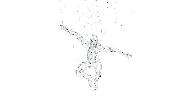 Homme abstrait conceptuel dans un saut.