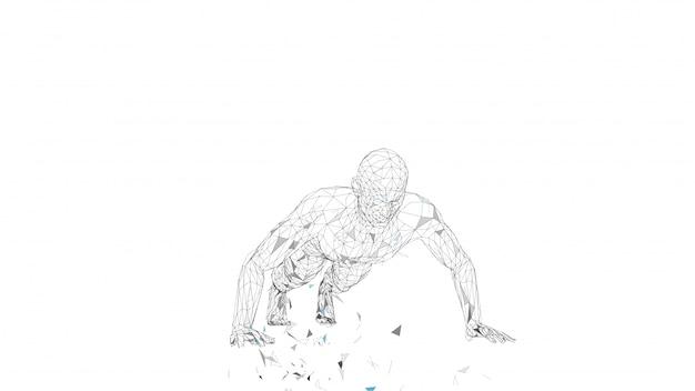 Homme abstrait conceptuel faisant des push ups dans une salle de sport. lignes connectées, points, triangles, particules.