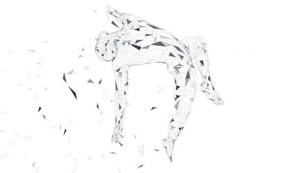 L'homme abstrait conceptuel plane dans les airs. lignes connectées, points, triangles