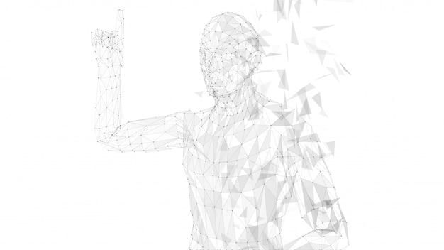 Homme abstrait conceptuel, pointant le doigt vers le haut
