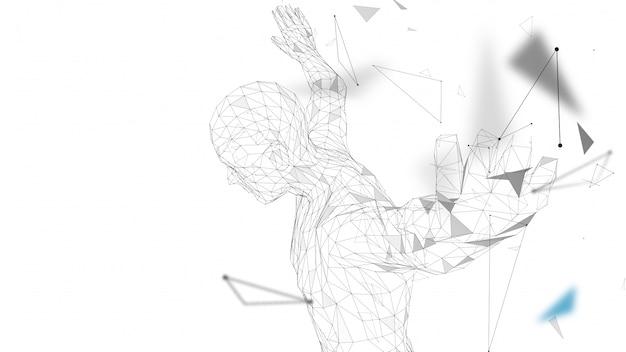 Homme abstrait conceptuel s'apprête à sauter