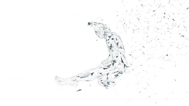 Homme abstrait conceptuel sautant dans le coup de pied de kung fu