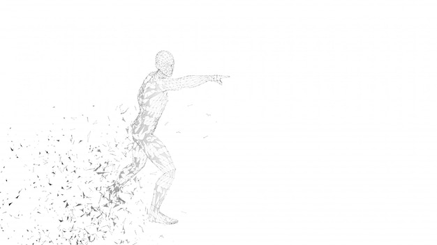 Homme abstrait conceptuel touchant ou pointant vers quelque chose
