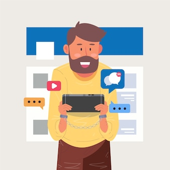 Un homme accro aux médias sociaux