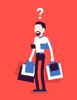Homme accro du shopping achetant trop d'achats