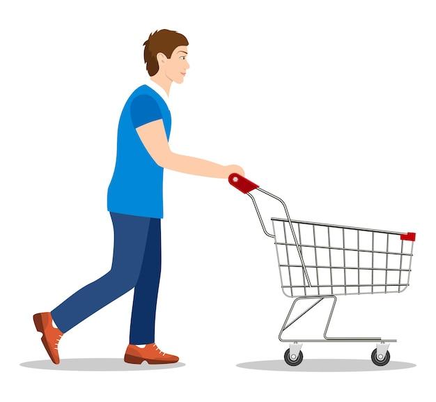 Homme d'achats avec un chariot