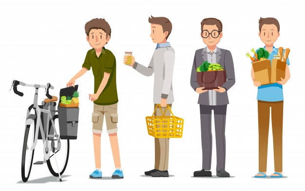 Homme, achats, supermarché, relaxation