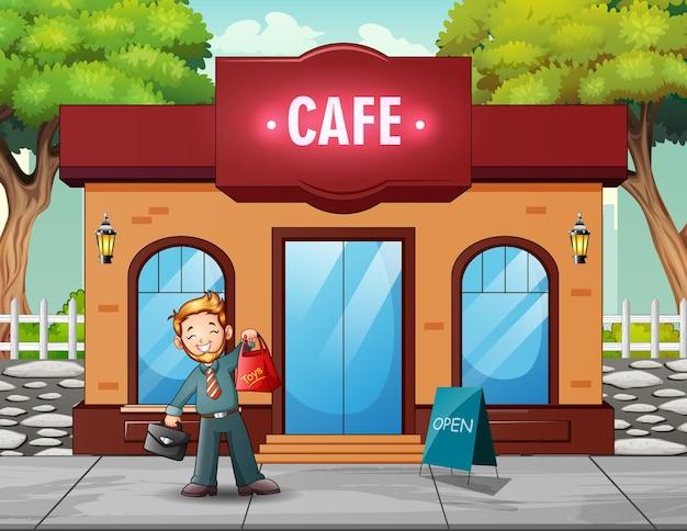 Un homme achète de la nourriture au café illustration