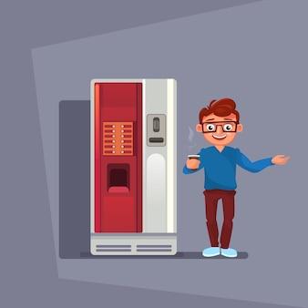 Homme acheter du café ou du thé dans un distributeur automatique sur fond gris
