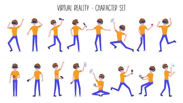 Homme ou adolescent garçon dans un casque de réalité virtuelle ou un casque de réalité virtuelle