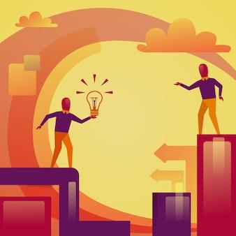 Homme d'affaires abstraite tenant ampoule nouveau concept de partage idée de démarrage