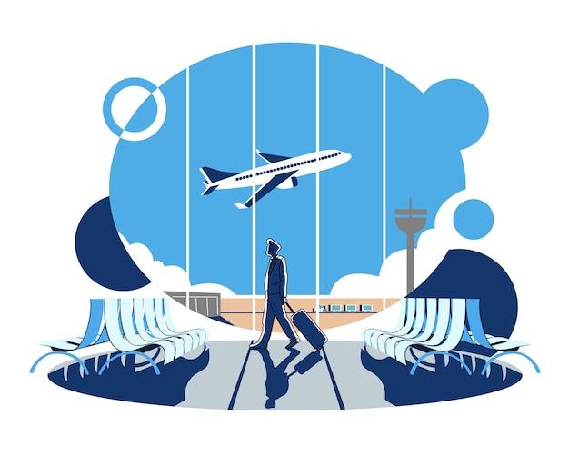 Homme d'affaires à l'aéroport partant en voyage d'affaires