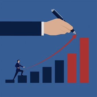 Homme d'affaires d'affaires plat grimper la croissance graphique à barres.
