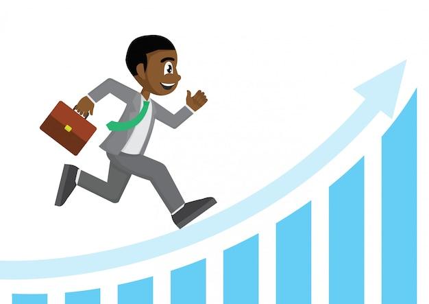 Homme d'affaires africain en cours d'exécution sur le graphique de la flèche blanche.