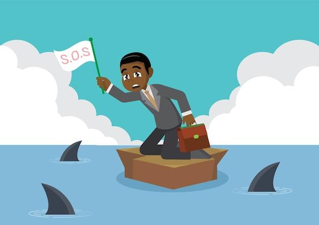 Homme d'affaires africain entouré de requin.