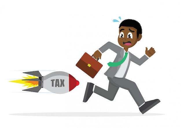 Homme d'affaires africain fuyant la taxe sur les fusées.