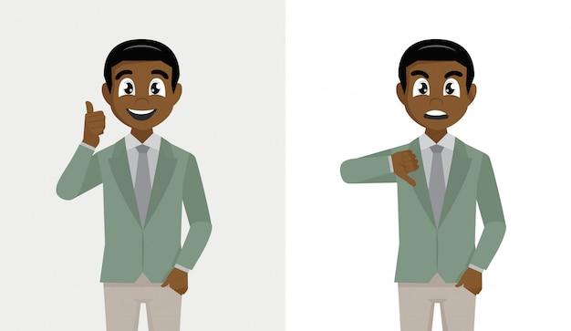 Homme d'affaires africain montrant le pouce vers le haut et le pouce vers le bas. aime et n'aime pas le concept de rétroaction.