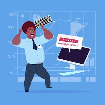 Homme d'affaires afro-américain saisie d'un mot de passe erroné