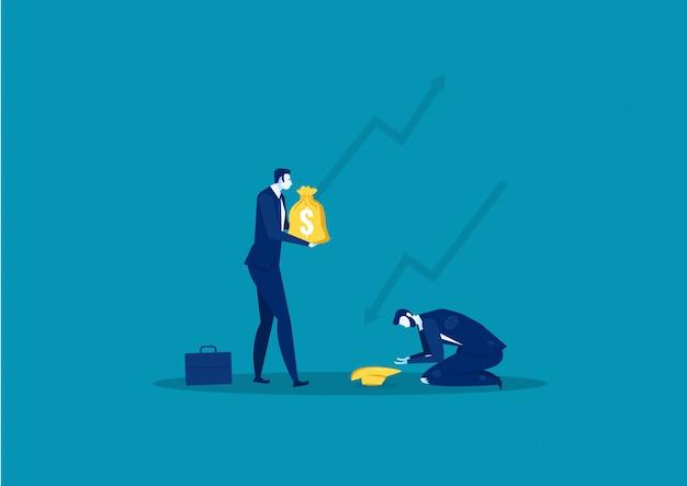 Homme d'affaires aidant l'homme à échouer de sa propre entreprise
