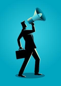 Homme d'affaires à l'aide d'un mégaphone