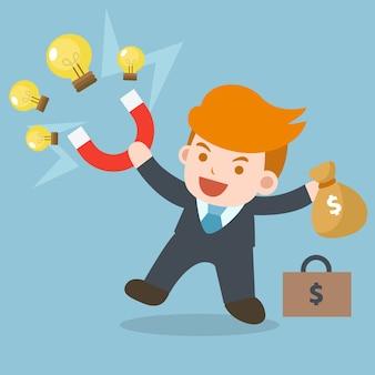 Homme d'affaires avec aimant collecte ampoule, idée pour obtenir de l'argent.