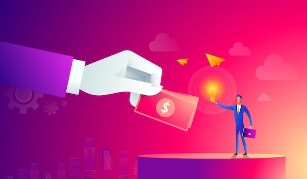 Homme d'affaires avec ampoule et autre main donnant de l'argent. crowdfunding, innovation, idée, concept d'investissement. icônes de style plat. illustration