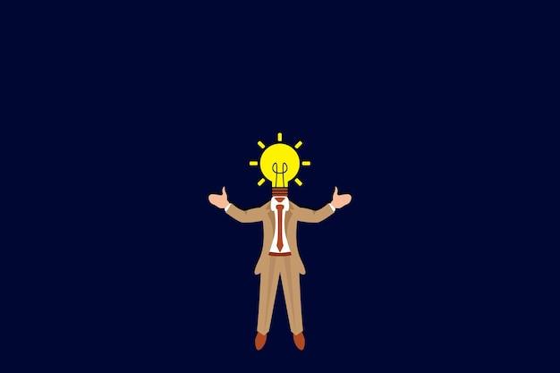 Homme d'affaires avec ampoule vector illustration