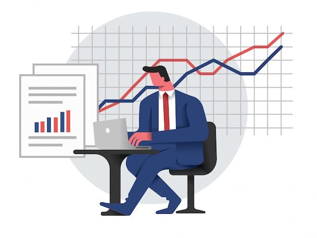 Homme d'affaires analyser et rendre compte des performances de l'entreprise