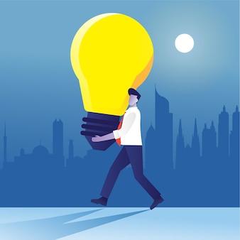 Homme d'affaires apporte une lampe bing comme idées