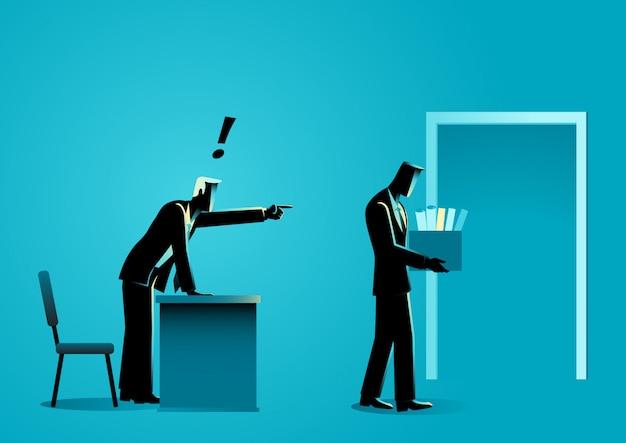 Homme affaires, apporter, personnel, articles, boîte