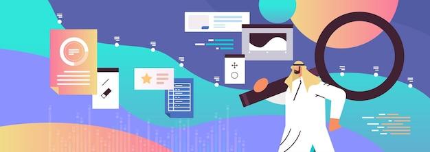 Homme d'affaires arabe à l'aide de données de page web loupe analyse concept marketing illustration vectorielle portrait horizontal