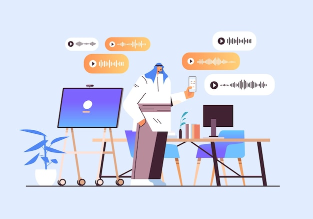 Homme d'affaires arabe communiquer dans des messageries instantanées par messages vocaux application de chat audio médias sociaux concept de communication en ligne illustration vectorielle horizontale pleine longueur