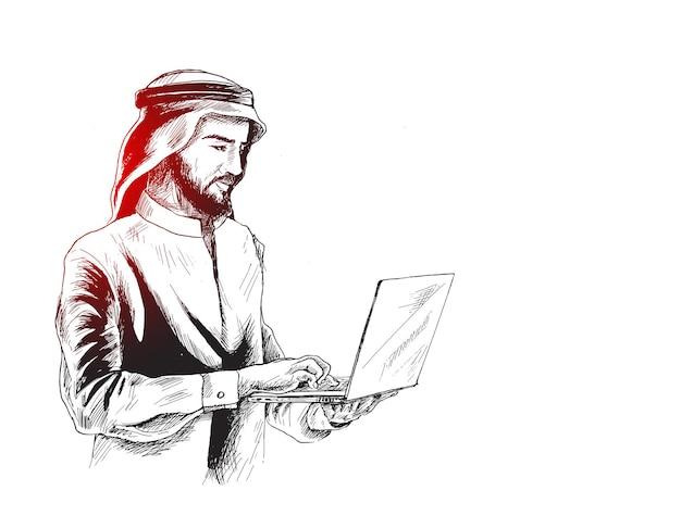Homme d'affaires arabe dans le concept d'entreprise travaillant sur un ordinateur portable, fond de vecteur de croquis dessinés à la main.