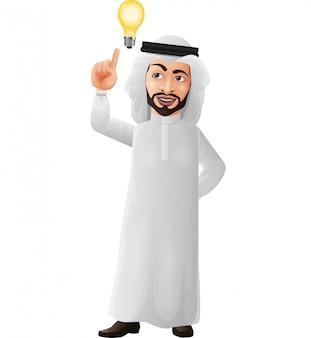 Homme d'affaires arabe dessin animé pensant et ayant l'idée