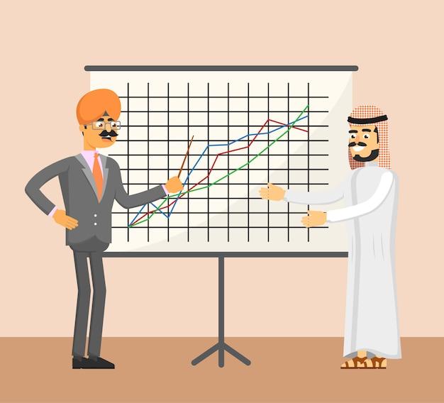 Homme d'affaires arabe et indien près de tableau blanc