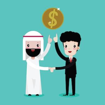 Homme d'affaires arabe se serrant la main avec un homme d'affaires au partenariat et de l'argent dollar