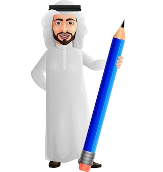 Homme d'affaires arabe tenant un crayon