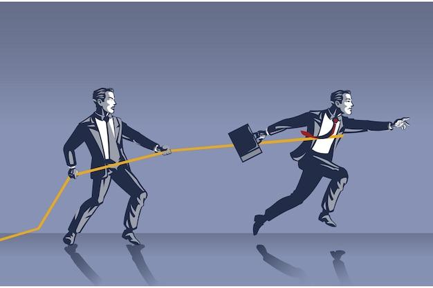 Homme d'affaires arrêter un collègue d'avancer avec un collier bleu en corde