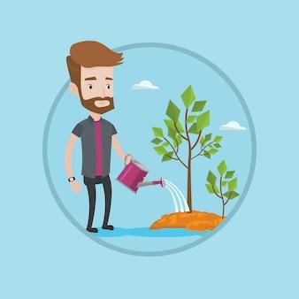 Homme d'affaires, arrosage des arbres vector illustration.