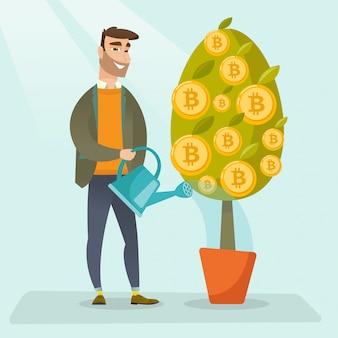 Homme d'affaires arrosant des arbres avec des pièces de bitcoin.