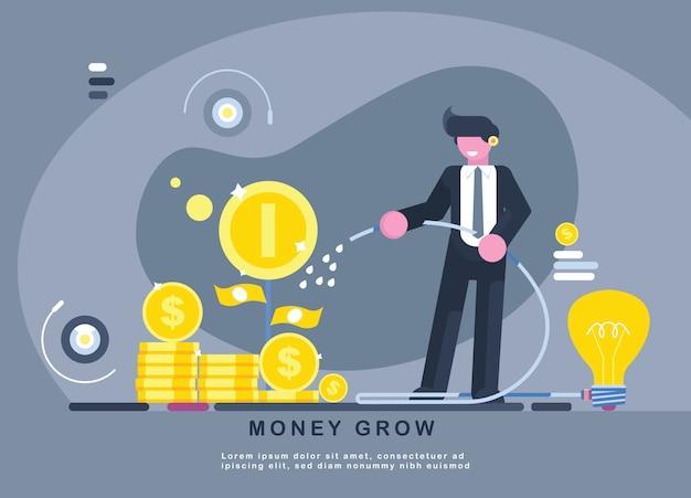 Homme d'affaires arrose un arbre d'argent avec une idée