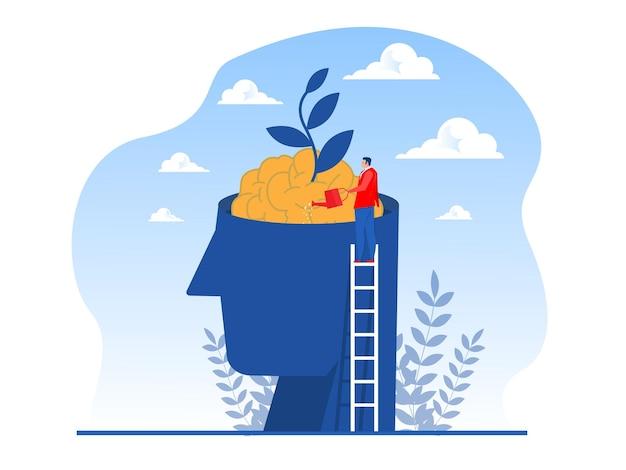 Homme d'affaires arroser l'argent des plantes pense pour le vecteur de concept de mentalité de croissance
