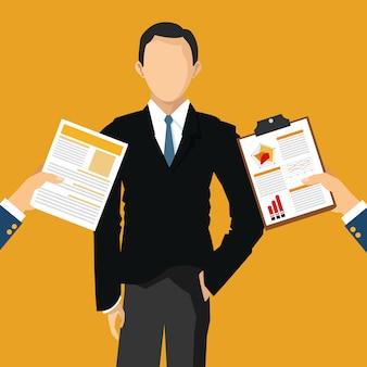 Homme d'affaires avec des articles liés au bureau