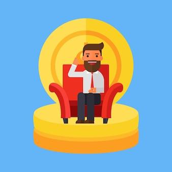 Homme d'affaires assis sur un canapé avec de l'argent