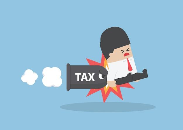 Homme d'affaires attaqué par une balle d'impôt