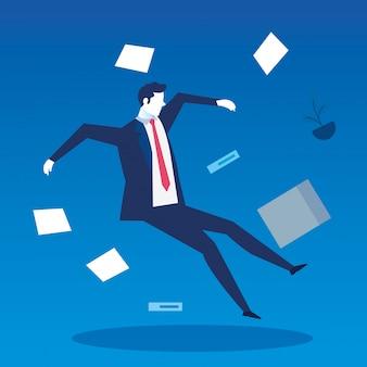 Homme d'affaires au chômage tombant avec des documents