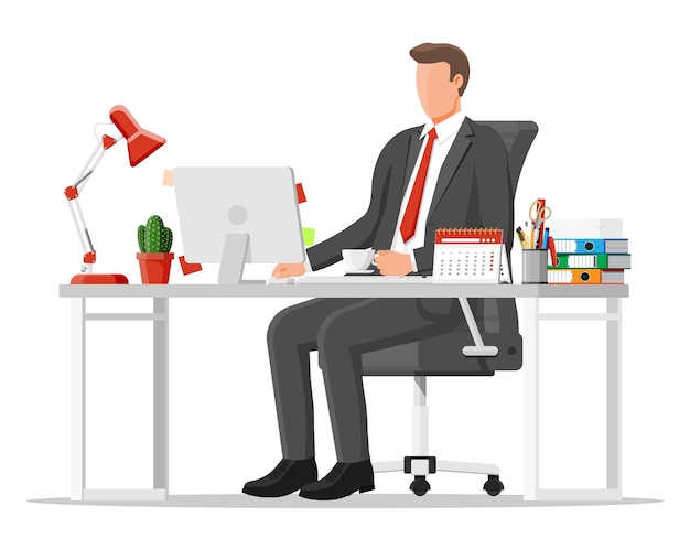 Homme d'affaires au travail. espace de travail de bureau créatif moderne. lieu de travail avec ordinateur, lampe, horloge, livres, café, calendrier, chaise, bureau et papeterie. bureau avec des éléments commerciaux. illustration vectorielle plane